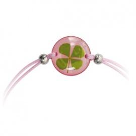 Bracelet ajustable TRèFLE VéRiTAbLE rond rose