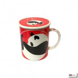 Tisanière PANdA rouge en porcelaine japonaise