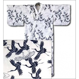 Yukata long blanc GRUES 100% coton