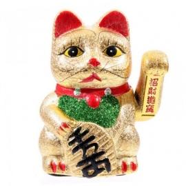 Maneki neko animé en porcelaine 18cm doré