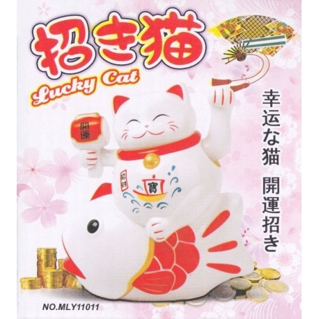 Maneki neko sur un poisson animé 11cm blanc