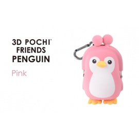 Porte-monnaie mimi POCHi Friends 3D PENGUiN rose en silicone