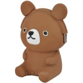Porte-monnaie mimi POCHi Friends 3D OURS ブラック brun en silicone