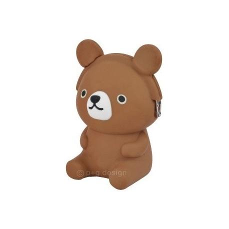 Porte-monnaie mimi POCHi Friends 3D OURS brun en silicone