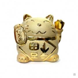 Tirelire Maneki Neko doré en porcelaine (h11.5cm)