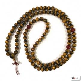 Collier mala en oeil de tigre 108 perles de 10mm