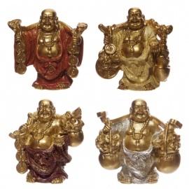 Bouddha Hotei (Prospérité) en rouge et or (h3.5cm)