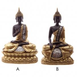 Bouddha thaï assis en résine noir et or (h18cm)