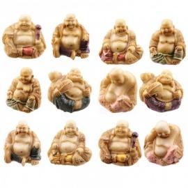 Bouddha Hotei (Prospérité) en résine doré pailleté (h6cm)