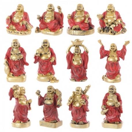 Bouddha Hotei (Prospérité) en noir et rouge (h7cm)