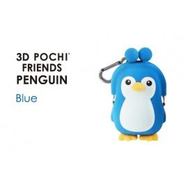 Porte-monnaie mimi POCHi Friends 3D PENGUiN bleu en silicone