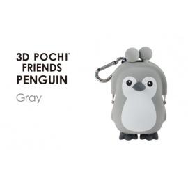 Porte-monnaie mimi POCHi Friends 3D PENGUiN gris en silicone