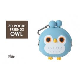 Porte-monnaie mimi POCHi Friends 3D ChOUETTE bleue en silicone