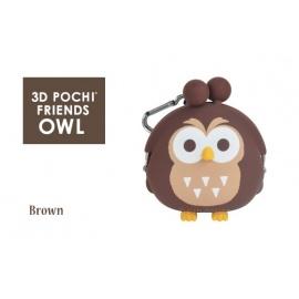 Porte-monnaie mimi POCHi Friends 3D ChOUETTE marron en silicone