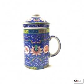 Tisanière & filtre en porcelaine PiVOiNES bleu