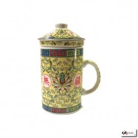 Tisanière & filtre en porcelaine PiVOiNES jaune