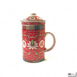 Tisanière & filtre en porcelaine PiVOiNES rouge