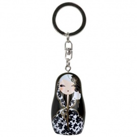 Porte-clés BABUShKA by kimmidoll 5cm (noir et blanc)