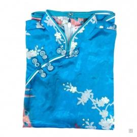 Robe enfant imprimé FLEURS & PAON bleu turquoise