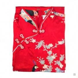 Robe enfant imprimé FLEURS & PAON rouge
