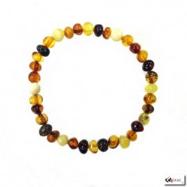 Bracelet perles en AMBRE MULTICOLORE 6mm