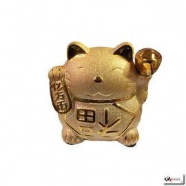 Tirelire Maneki Neko doré en porcelaine (h16.5cm)