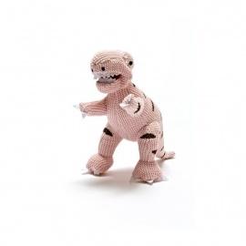 Hochet T-REX rose en crochet fait main 100% acrylique (h12cmk)