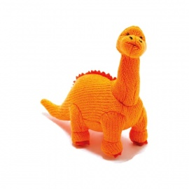 Hochet DiPLOdOCUS orange en crochet fait main 100% acrylique (h13cm)