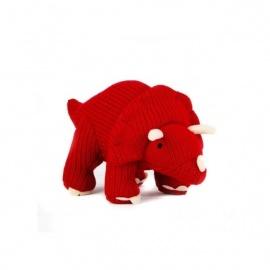Hochet TRiCéRATOPS rouge en crochet fait main 100% acrylique (h9cm)