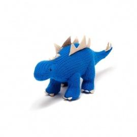 Hochet STéGOSAURE bleu en crochet fait main 100% acrylique (h8cm)