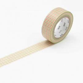 masking tape déco hougan green x orange (quadrillage vert et orange) 15mm*10m