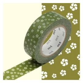 masking tape déco nejiriume uguisu (fleurs de prunier vert) 15mm*10m