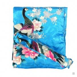 Kimono long satiné réversible 2 poches imprimé FLEURS & PAON bleu turquoise (120cm)