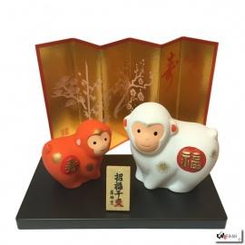 Singe 2016 couple en argile bonheur (福) et longévité (寿)