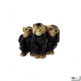 3 Singes sapajou en porcelaine thaïlandaise (h4cm)