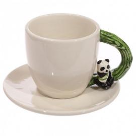 Tasse à café anse PANdA en porcelaine