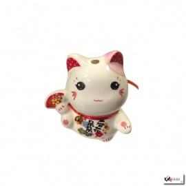 Tirelire Maneki Neko kawaii oreilles ROSES en porcelaine (h7cm)