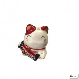 Tirelire Maneki Neko kawaii oreilles BORdEAUX en porcelaine (h7cm)