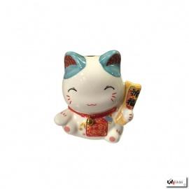 Tirelire Maneki Neko kawaii oreilles BLEU TURQUOiSE en porcelaine (h7cm)