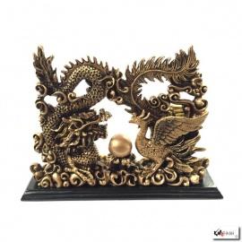 Dragon et Phoenix en résine doré (h17.5cm)