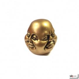 Tête de bouddha HOTEi 4 faces en résine doré (h7cm)