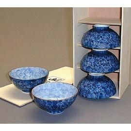 Coffret 5 bols à thé PiVOiNES 牡丹 (richesse et bonheur) en porcelaine japonaise (d11.7cm)