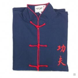 Ensemble chinois Kung-fu / Tai-chi bleu brodé KUNG-FU enfant