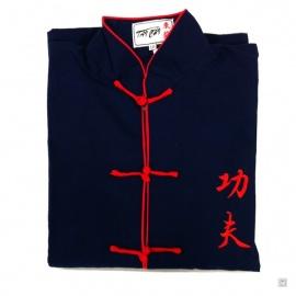 Ensemble chinois Kung-fu / Tai-chi noir brodé KUNG-FU enfant