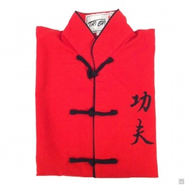 Ensemble chinois Kung-fu / Tai-chi rouge brodé KUNG-FU enfant