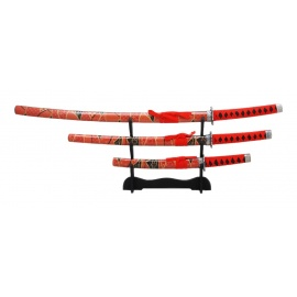 Daisho 3 sabres japonais de décoration+support ROUGE & OR