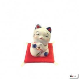Maneki Neko SALUTATiON bleu en porcelaine japonaise (h5cm)