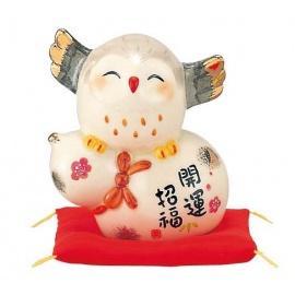 Chouette en porcelaine japonaise BONhEUR et SANTé (h8.5cm)