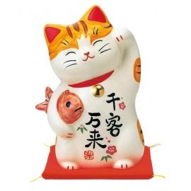 Maneki Neko GRANdE AMiTié en porcelaine japonaise (h12cm)