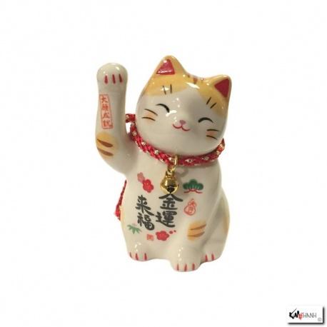 Maneki Neko FORTUNE TORA en porcelaine japonaise (h7cm)